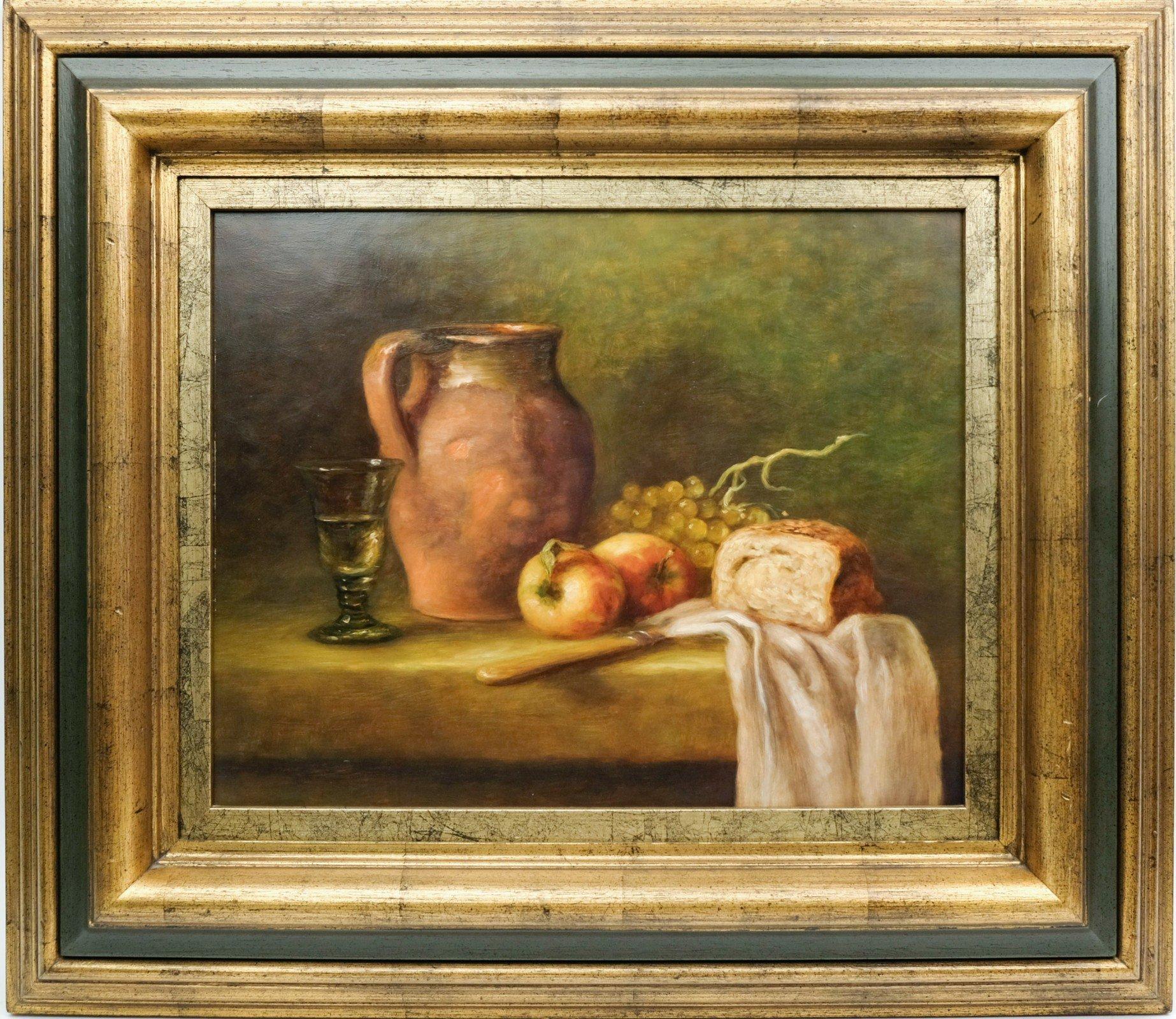 Ad de Roo (1959) - Stilleven met kruik, appels en brood