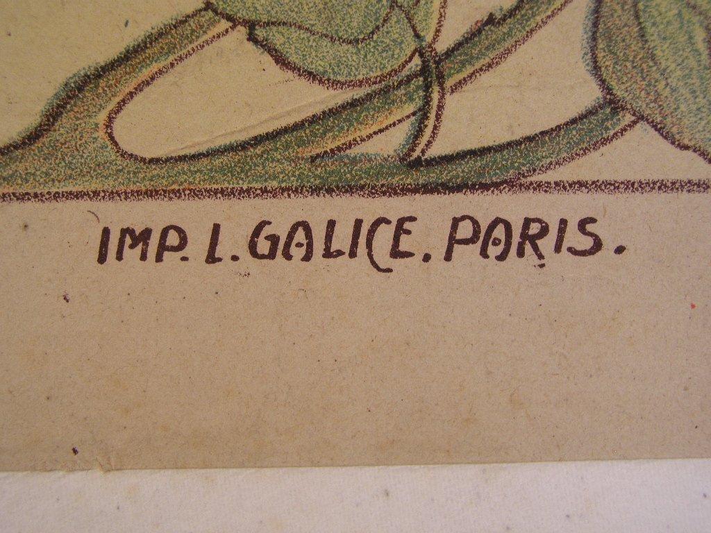 Art nouveau lithografie van L. Damare (-1927)