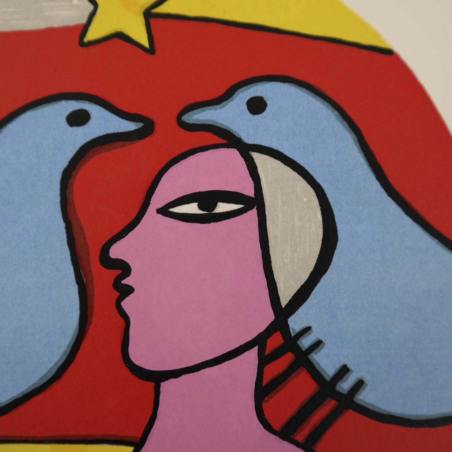 Corneille (1922-2010) – Vrouw met twee duiven
