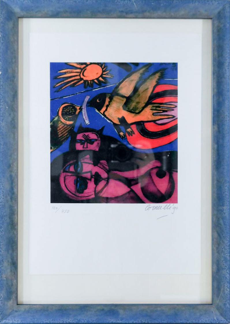 Corneille (1922-2010) - Kat, vogel en vrouw