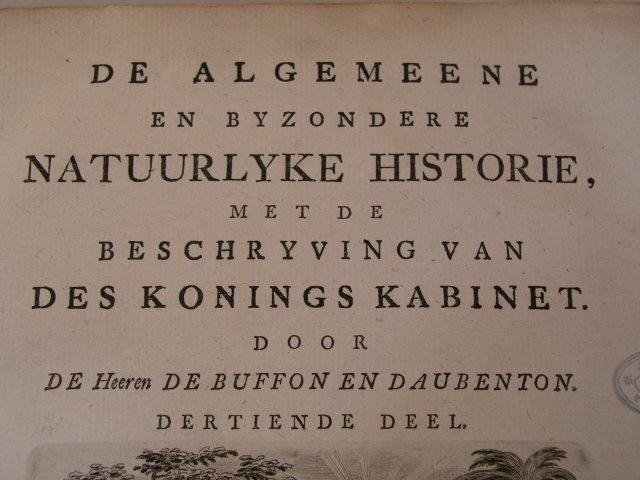 Vier delen van de Natuurlyke Historiedoor de Buffon en Daubenton