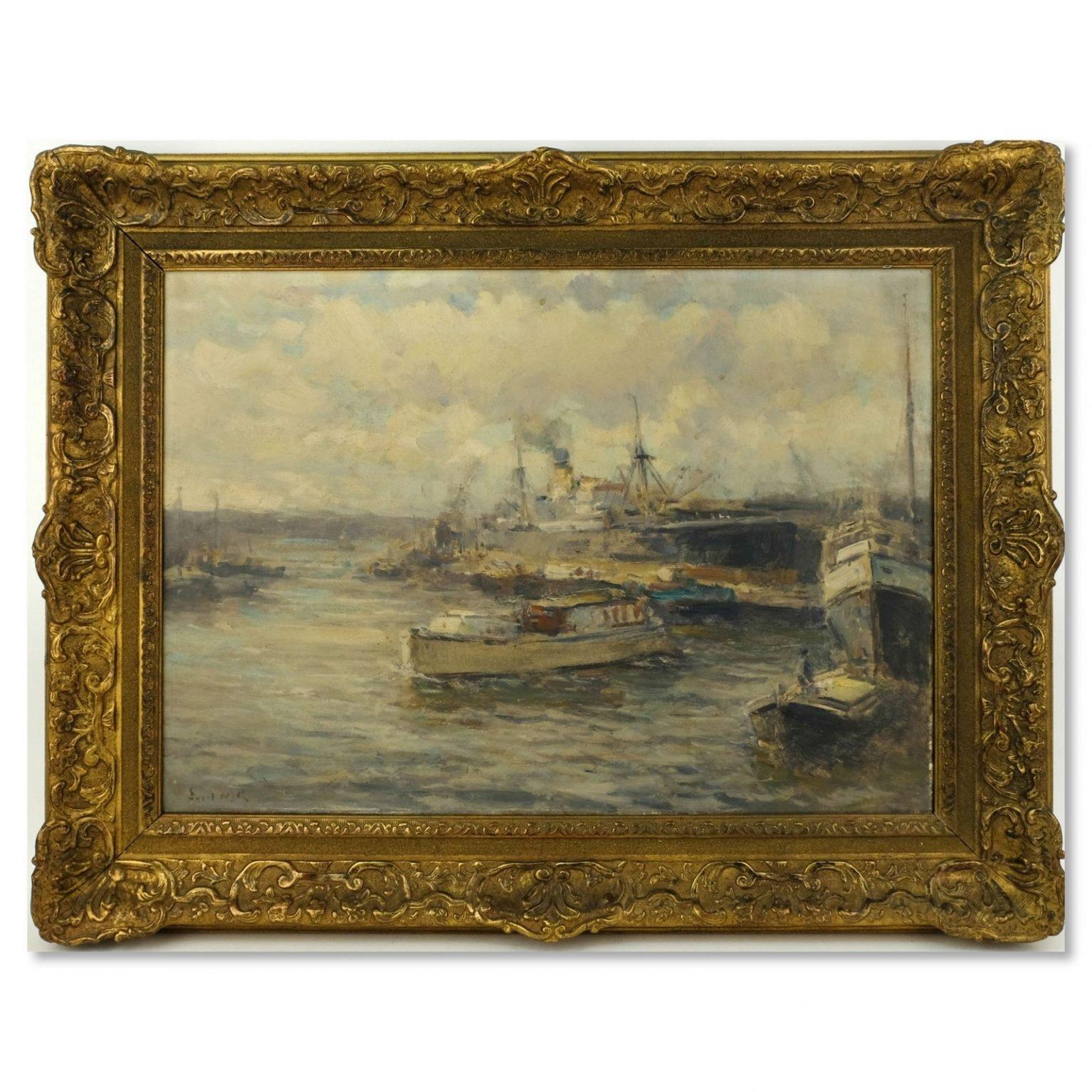 Evert Moll (1878-1955) - Stoomschip aan de kade