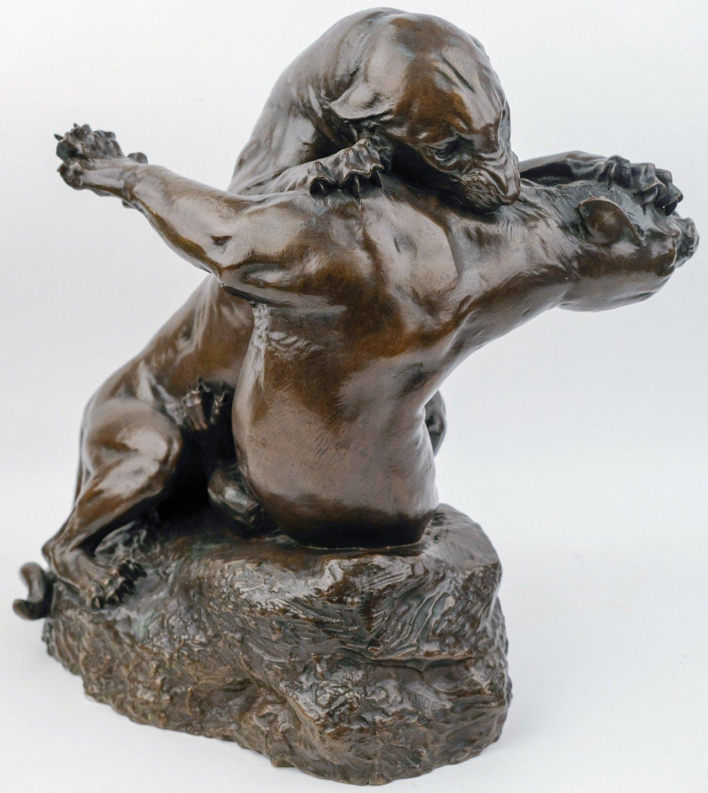 Georges Gardet (1863-1939) - Combat de deux panthères