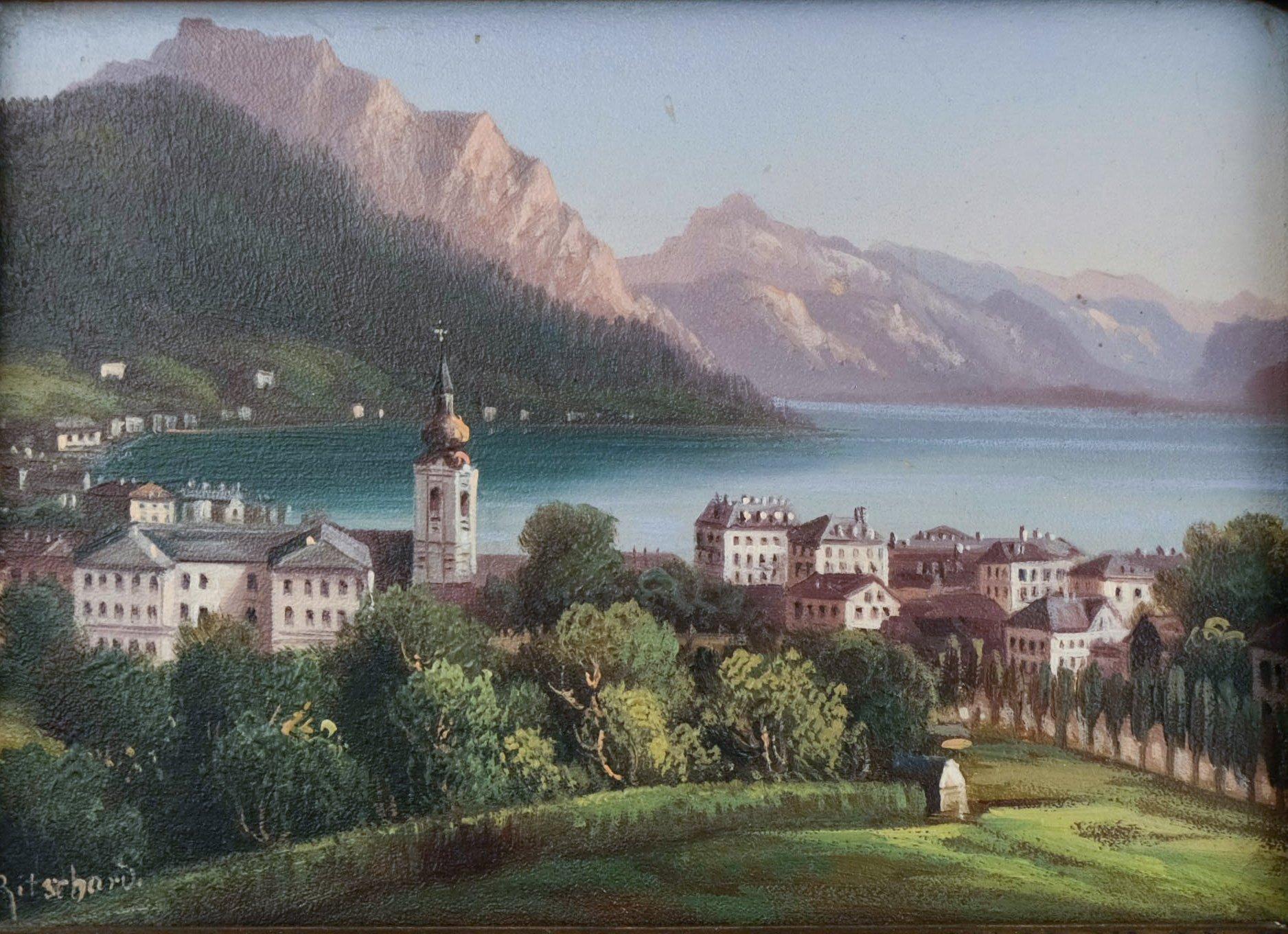 Hubert Sattler - Louis Ritschard (1817-1904) - Dorp aan Meer