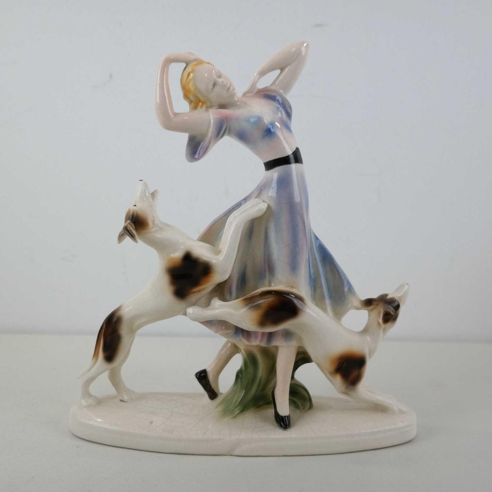 Sitzendorfer Porzellanmanufaktur Vrouw met twee honden