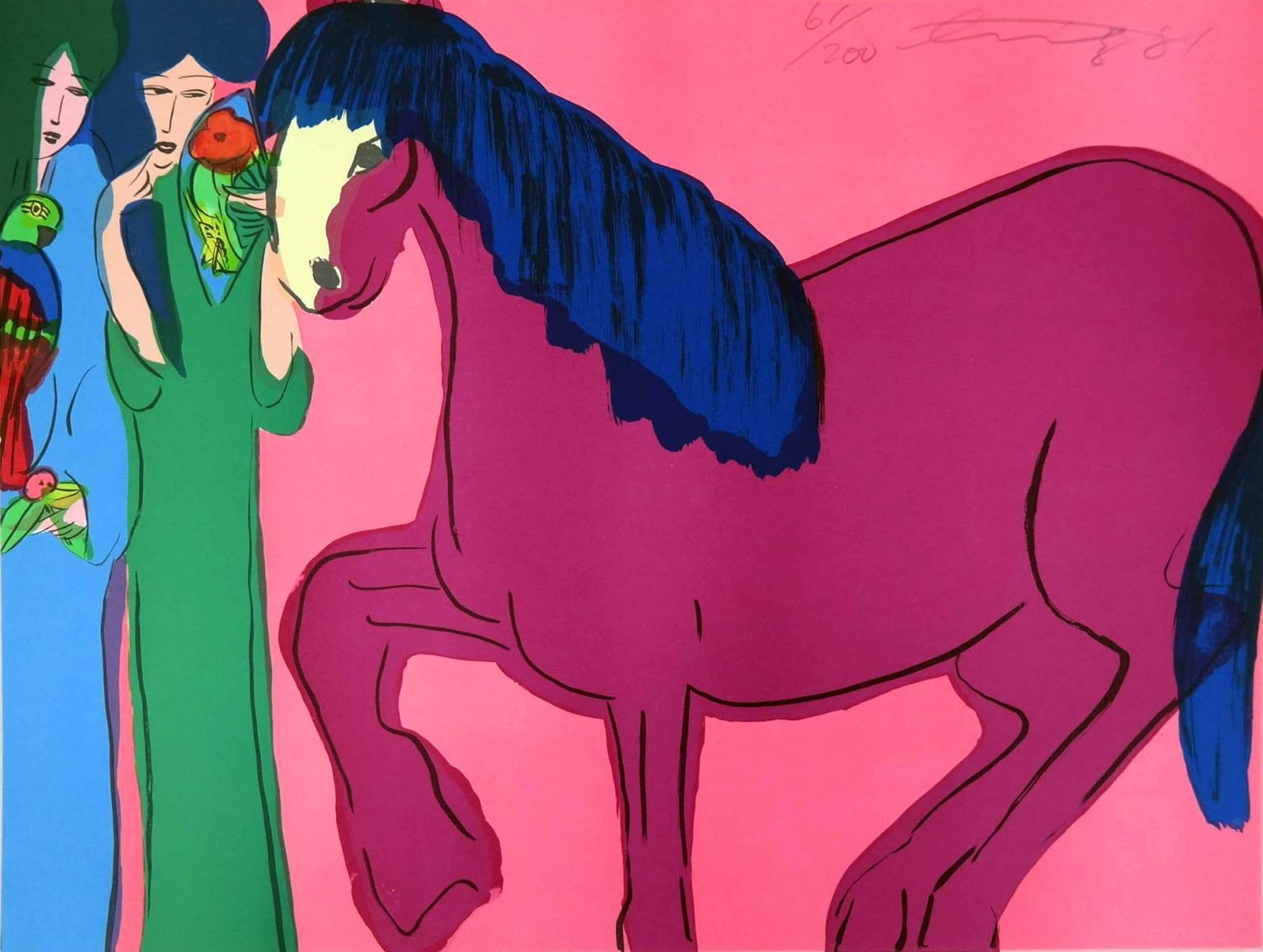 Walasse Ting (1929 - 2010) - Red Horse