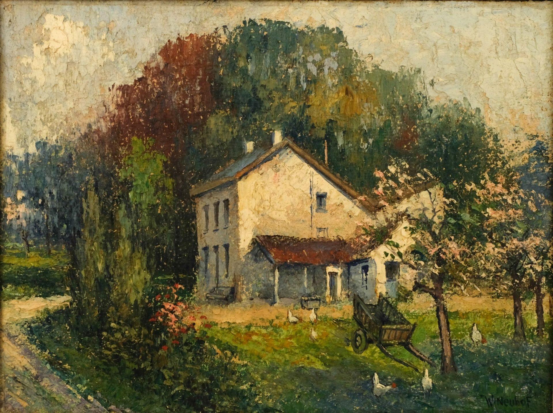 Walther Neuhof (1904-1982) - Huis met boerenkar
