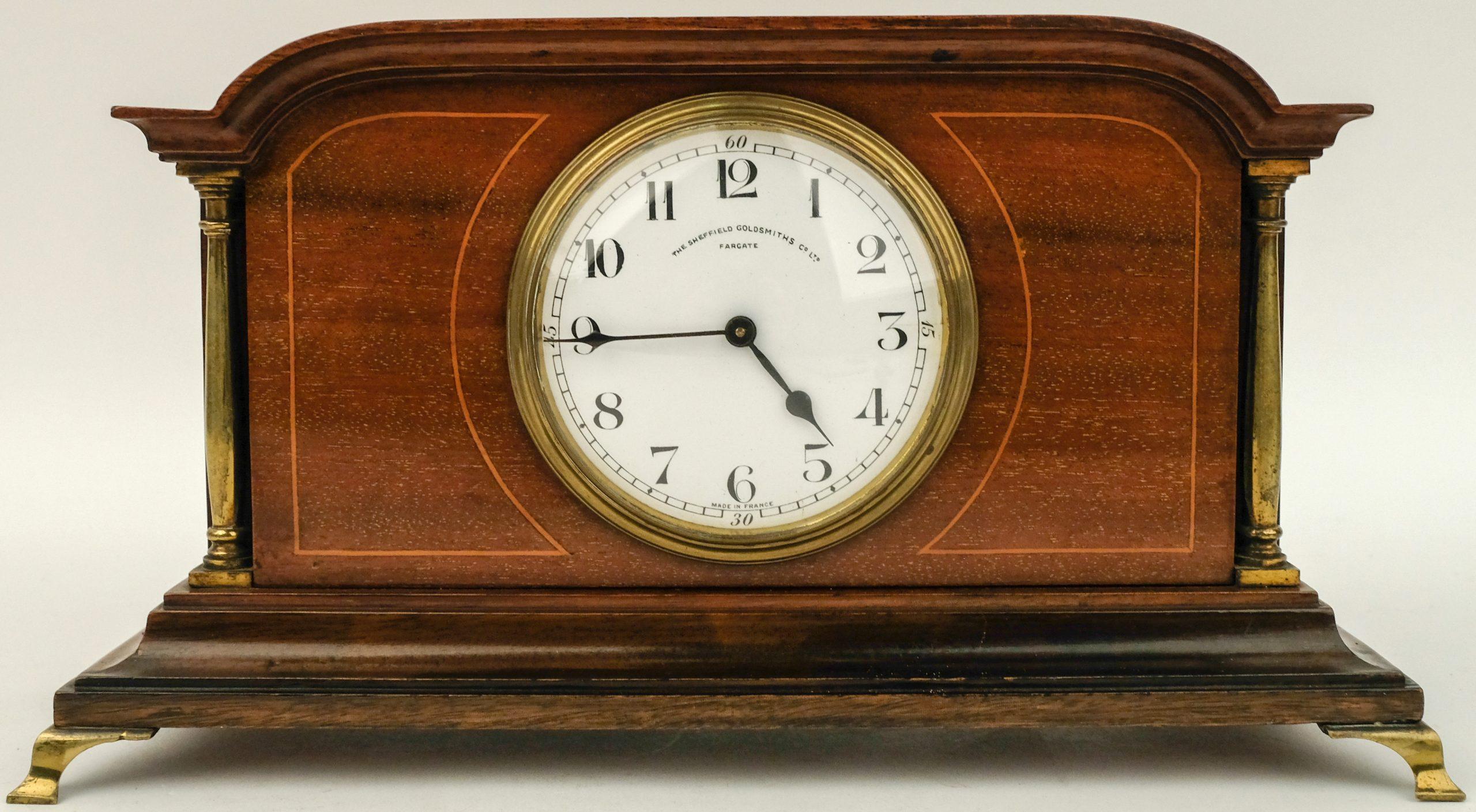 Klokje, wijzerplaat gemerkt met Sheffield Goldsmiths Co. Ltd