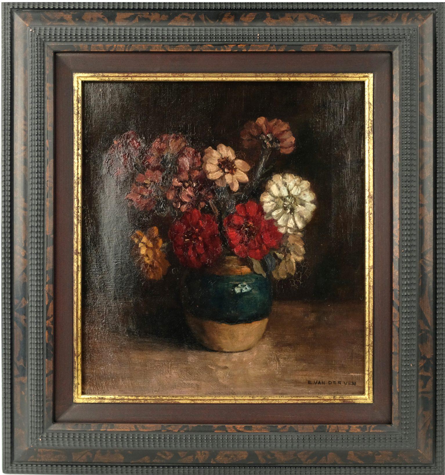 Emmanuel van der Ven (1821-1883) - Stilleven met zinnia's
